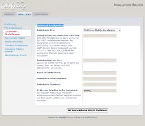 phpBB3 Datenbank Konfiguration